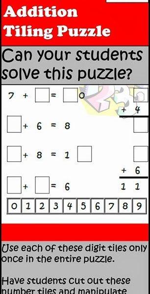 Math Tiling Puzzles from Raki's Rad Resources