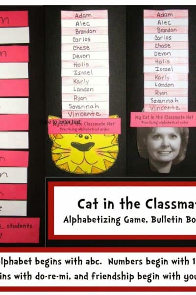 Cat in the Classroom Hat Alphabetizing Packet