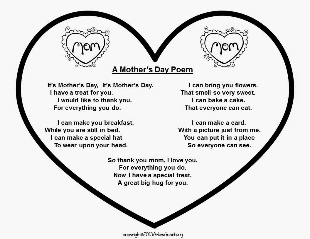 Mothers Day Poem Classroom Freebies