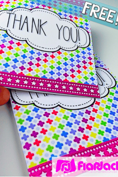 NEON Thank You Cards FREEBIE (In Spanish, too!)