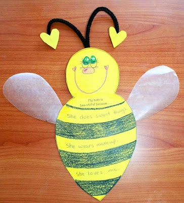 My Mom Is Bee-utiful Because…Writing Prompt Craftivity For Mother's Day