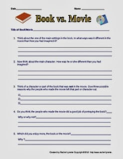 Compare/Contrast Books and Movies Printable