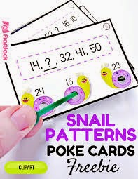 Snail Patterns Poke Cards FREEBIE