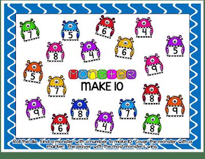 Monster {Make Ten}  Addition Partner Game