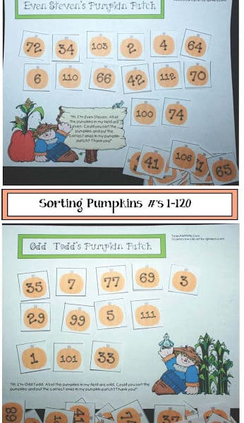 Numbers in the Pumpkin Patch Center Game