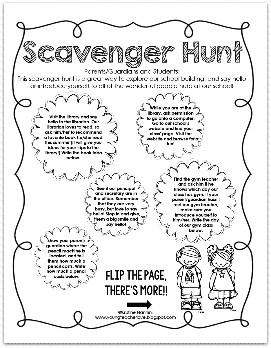 Back to School Scavenger Hunt Freebie - Classroom Freebies