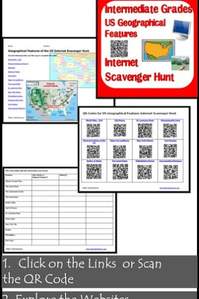 Internet Scavenger Hunt for Geographical Features of the US from Raki's Rad Resources