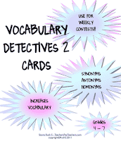 photo of Vocabulary Detectives Task Cards 2, free, pdf, vocabulary, Ruth S. teacherspayteachers.com