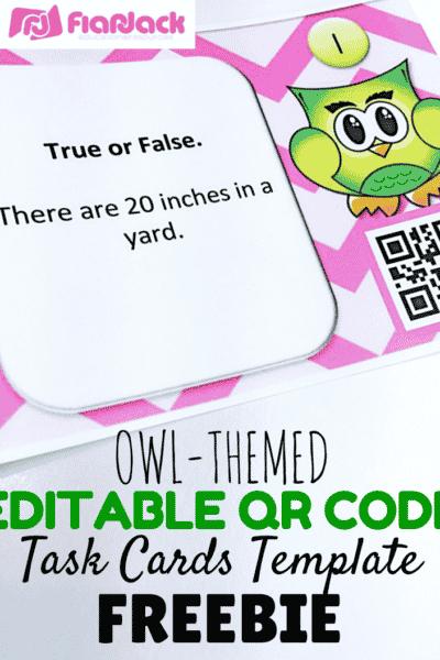 Editable Owl-Themed QR Code Task Card Templates