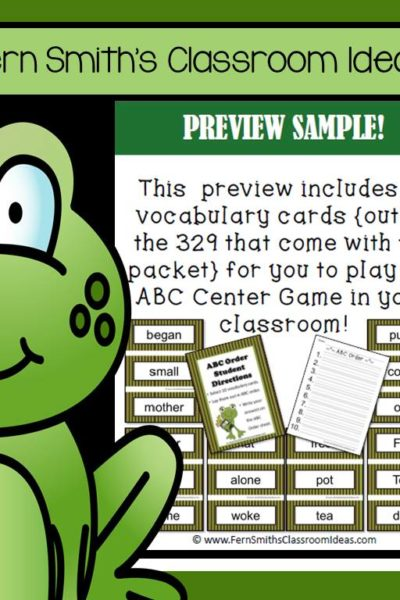 Fern Smith's FREE Frog and Toad ABC Order Literacy Center