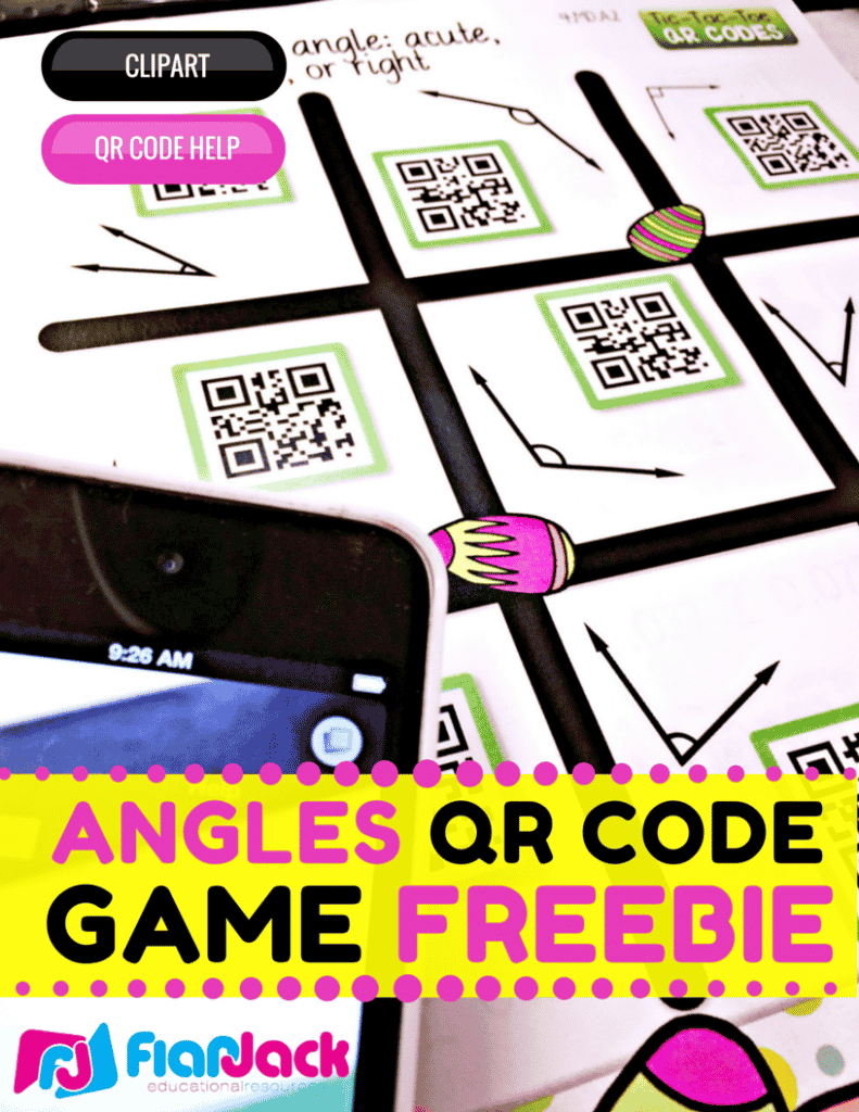 Identifying Angles QR Code Math Center Freebie