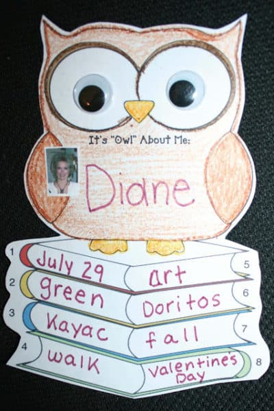 "It's ""Owl"" About Me Writing Prompt Craftivity"