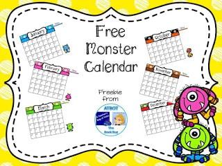 FREE Monster Themed Calendar