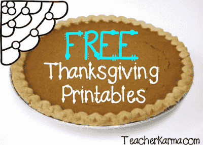 Thanksgiving FREEBIES TeacherKarma.com