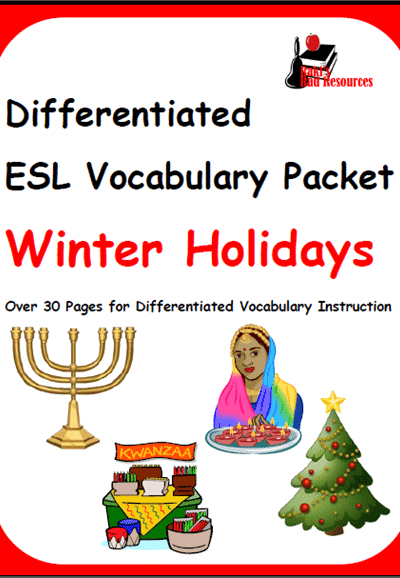 Winter Holiday Vocabulary Packet