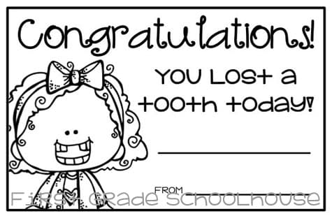 i lost a tooth certificates classroom freebies