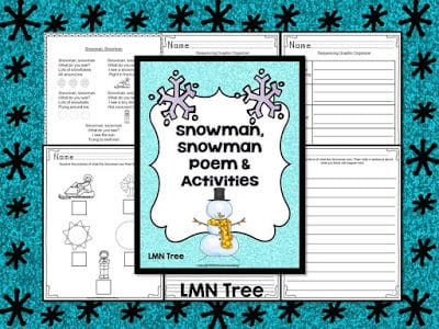 """Snowman, Snowman, What do you see?"" Poetry and Activity Packet"