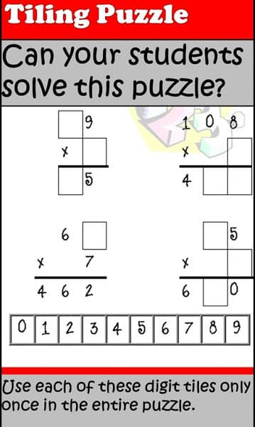 Free Multiplication Tiling Puzzle