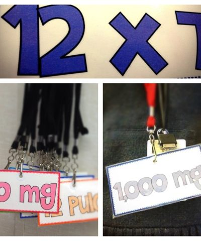 Measurement and Multiplication Facts Lanyard Tags