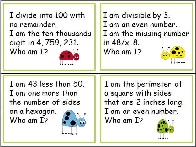 Math Riddle Cards for Spiraled Review - Classroom Freebies