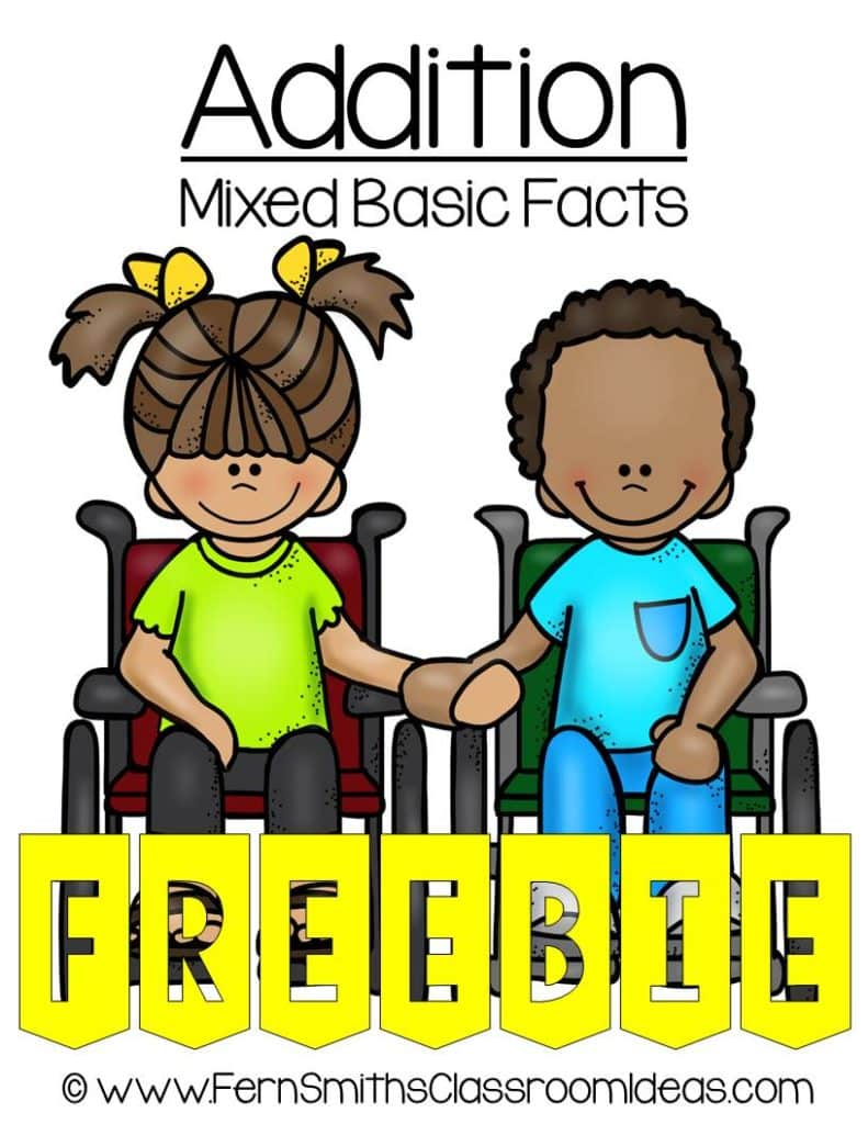Fern Smith's Classroom Ideas FREE Mixed Addition Basic Facts Center Game at TeachersPayTeachers.