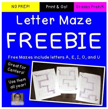 FREE Vowel Letter Recognition Mazes