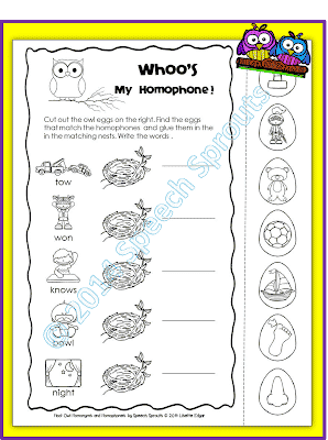 Hoot Owl Homonyms and Homophones- Freebie!