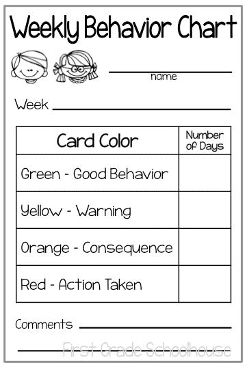 Weekly behavior charts classroom freebies