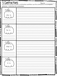 S Contraction Worksheets