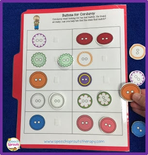 Download this FREE Corduroy's Buttons file folder activity and Corduroy himself,  so you can go on a hunt for his missing button! www.speechsproutstherapy.com
