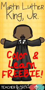 Martin Luther King, Jr. ~ Color and Learn FREEBIE!