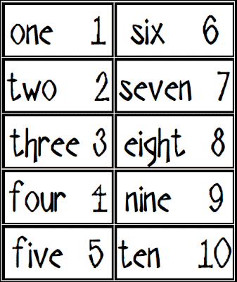 Free Number Cards for Your Word Wall