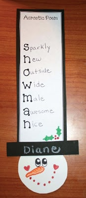 Snowman Acrostic Poems