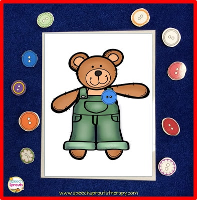 Freebie: Matching Corduroy's Buttons www.speechsproutstherapy.com
