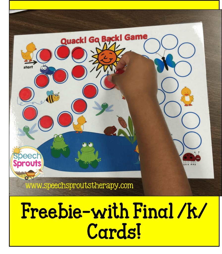 FREE Fun duck and pond themed game with 20 final /k/ cards www.speechsproutstherapy.com