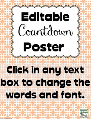 Kids (and teachers) love countdowns!  There is always something exciting just around the corner.  You can use the colorful pages to countdown to these special events or holidays.  The posters are editable so you can make the countdown be for anything!