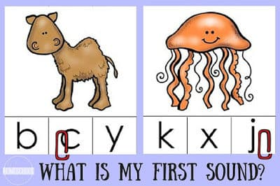 Beginning Sounds Animal Clip It Cards