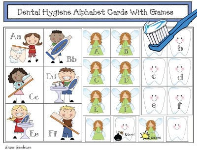 Dental Hygiene Themed Alphabet Cards and Games
