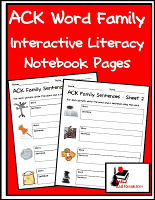 Interactive Literacy Notebook Pages for the ACK Word Family