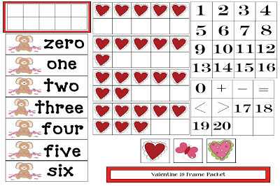 Heart-themed 10 Frame Activities