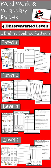 Free differentiated spelling and vocabulary packet for l ending words - el, le, al - from Raki's Rad Resources