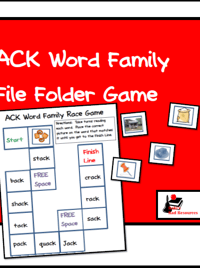 Free Word Family File Folder Game for Literacy Centers