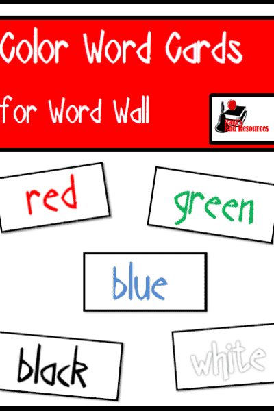 Free Color Word Word Wall Cards