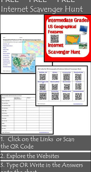 Free Internet Scavenger Hunt for Geographical Features of the United States