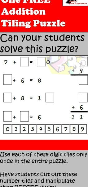 Free Addition Tiling Puzzle