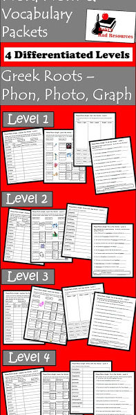 Free Differentiated Greek Roots Vocabulary Packet