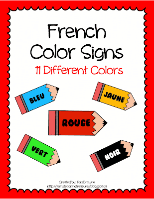 Free French Color Signs
