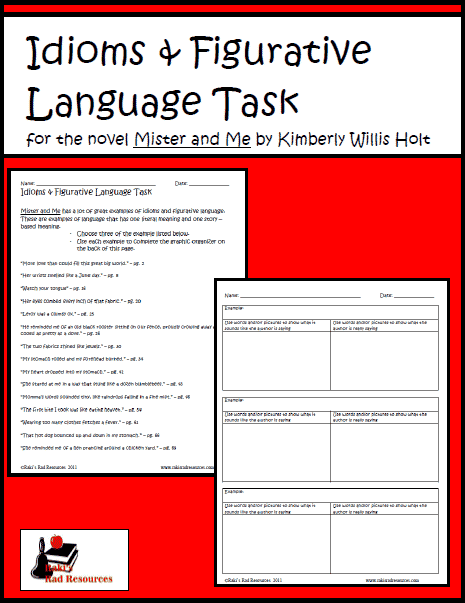 Free download - idioms and figurative language for Mister and Me - reading comprehension activity from Raki's Rad Resources