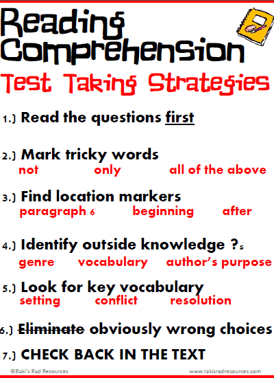 Free Reading Comprehension Test Taking Strategies Posters