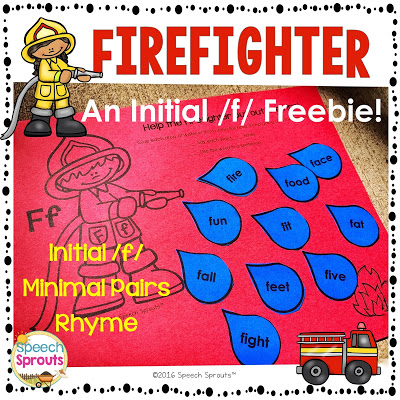 FREE Firefighter Activity for reading or articulation by Speech Sprouts www.speechsproutstherapy.com